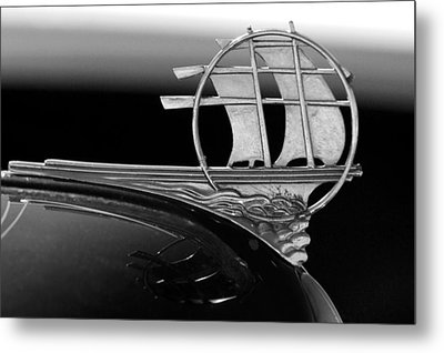 1934 Plymouth Hood Ornament Black And White Metal Print by Jill Reger