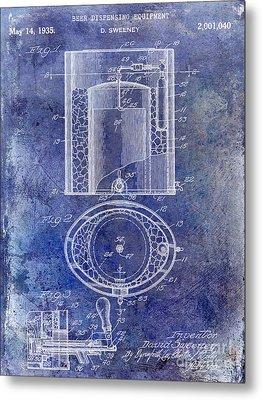 1935 Beer Equipment Patent Blue Metal Print by Jon Neidert