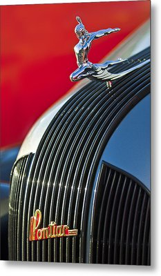 1935 Pontiac Sedan Hood Ornament Metal Print by Jill Reger