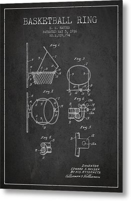 1936 Basketball Ring Patent - Charcoal Metal Print by Aged Pixel