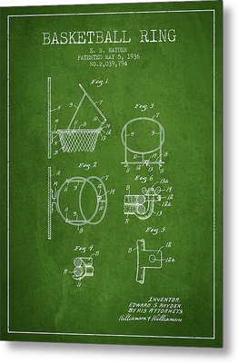 1936 Basketball Ring Patent - Green Metal Print by Aged Pixel