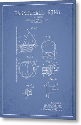 1936 Basketball Ring Patent - Light Blue Metal Print by Aged Pixel