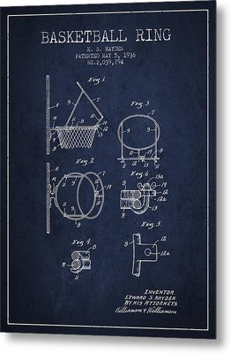 1936 Basketball Ring Patent - Navy Blue Metal Print by Aged Pixel