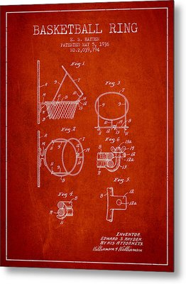 1936 Basketball Ring Patent - Red Metal Print by Aged Pixel
