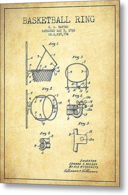 1936 Basketball Ring Patent - Vintage Metal Print by Aged Pixel