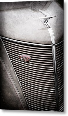 1937 Lincoln-zephyr Coupe Sedan Grille Emblem - Hood Ornament -0100ac Metal Print by Jill Reger