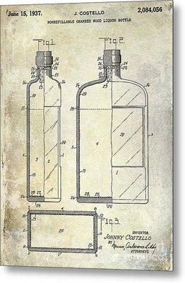 1937 Liquor Bottle Patent  Metal Print by Jon Neidert