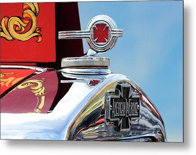1938 American Lafrance Fire Truck Hood Ornament Metal Print by Jill Reger