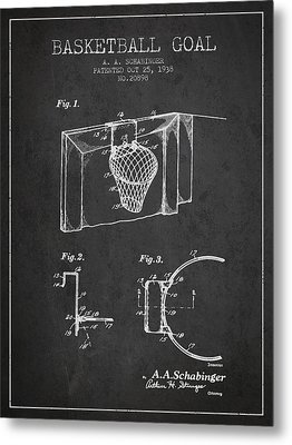 1938 Basketball Goal Patent - Charcoal Metal Print by Aged Pixel