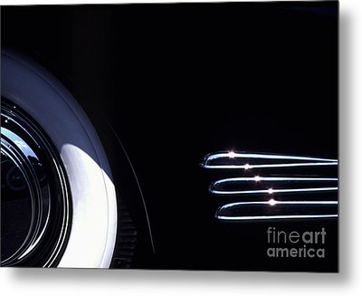 1938 Cadillac Limo With Chrome Strips Metal Print by Anna Lisa Yoder