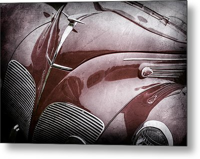 1938 Lincoln-zephyr Convertible Coupe Grille - Hood Ornament - Emblem -0108ac Metal Print by Jill Reger