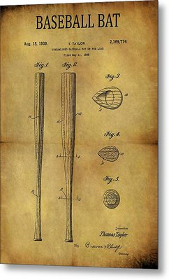 1939 Baseball Bat Patent Metal Print by Dan Sproul