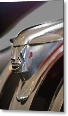 1948 Pontiac Streamliner Woody Wagon Hood Ornament 2 Metal Print by Jill Reger