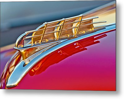 1949 Plymouth Hood Ornament Metal Print by Jill Reger
