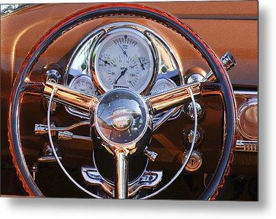 1950 Oldsmobile Rocket 88 Steering Wheel 2 Metal Print by Jill Reger