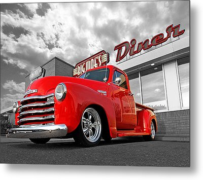 1952 Chevrolet Truck At The Diner Metal Print by Gill Billington