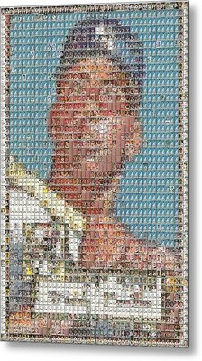 1952 Topps Mickey Mantle Rookie Card Mosaic Metal Print by Paul Van Scott