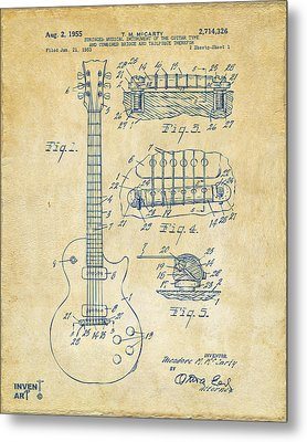 1955 Mccarty Gibson Les Paul Guitar Patent Artwork Vintage Metal Print by Nikki Marie Smith