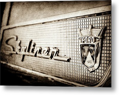 1958 Ford Fairlane Skyliner Hardtop Convertible Emblem -0437s Metal Print by Jill Reger