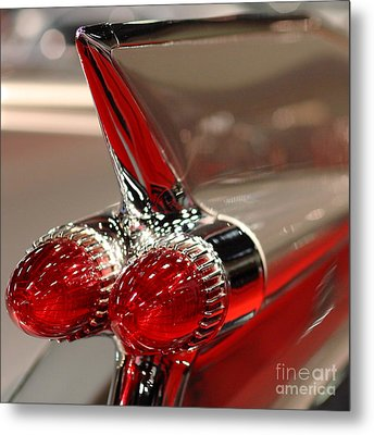 1959 Cadillac Convertible . Wing View Closeup1959 .square Metal Print by Wingsdomain Art and Photography