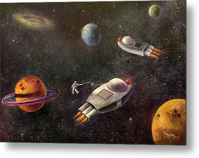 1960s Outer Space Adventure Metal Print by Randy Burns aka Wiles Henly