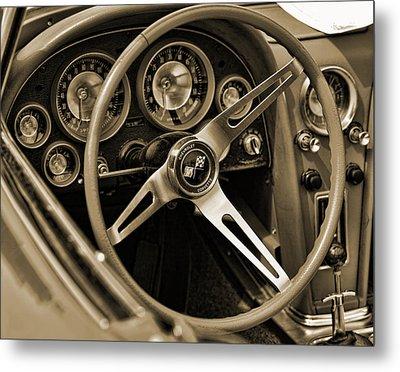 1963 Chevrolet Corvette Steering Wheel - Sepia Metal Print by Gordon Dean II