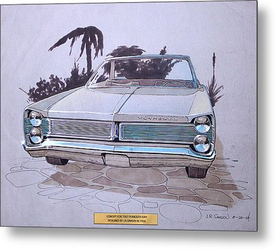 1967 Plymouth Fury  Vintage Styling Design Concept Rendering Sketch Metal Print by John Samsen