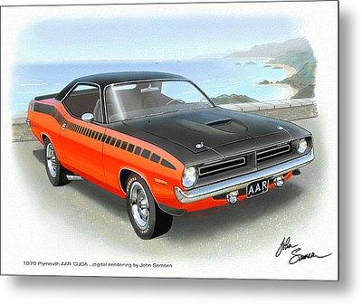 1970 Barracuda Aar  Cuda Classic Muscle Car Metal Print by John Samsen