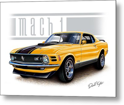 1970 Mustang Mach 1 In Yellow Metal Print by David Kyte