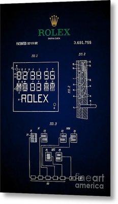 1972 Rolex Digital Clock Patent 5 Metal Print by Nishanth Gopinathan