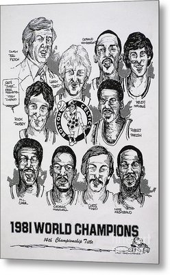 1981 Boston Celtics Championship Newspaper Poster Metal Print by Dave Olsen