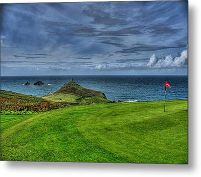 1st Green Cape Cornwall Golf Club Metal Print by Chris Thaxter