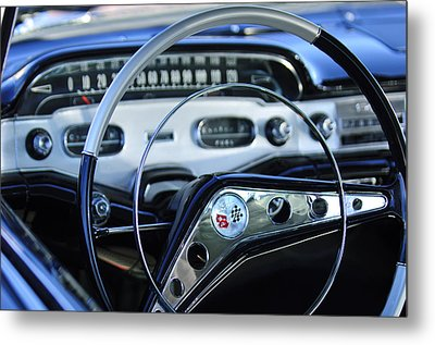 1958 Chevrolet Impala Steering Wheel Metal Print by Jill Reger