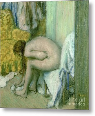 After The Bath Metal Print by Edgar Degas