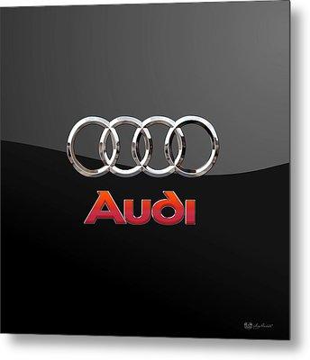 Audi - 3 D Badge On Black Metal Print by Serge Averbukh