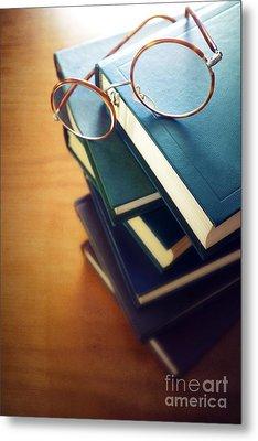 Books And Glasses Metal Print by Carlos Caetano