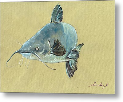 Channel Catfish Fish Animal Watercolor Painting Metal Print by Juan  Bosco
