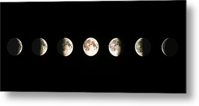 Composite Image Of The Phases Of The Moon Metal Print by John Sanford
