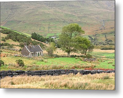 Cottage At The Foothill Of The Colorful Connemara Mountains Ireland  Metal Print by Pierre Leclerc Photography