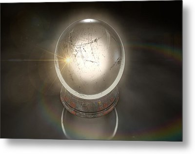 Crystal Ball Glowing Metal Print by Allan Swart