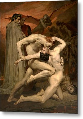 Dante And Virgil In Hell  Metal Print by William-Adolphe Bouguereau