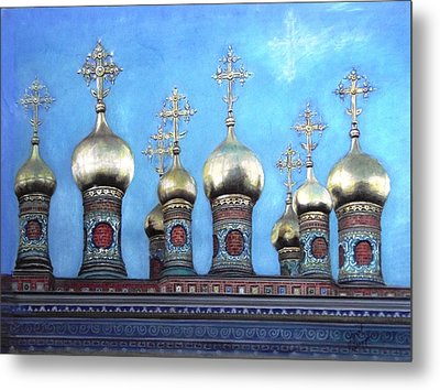 Domes Above The Moscow Kremlin Metal Print by Janet Grappin