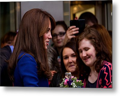 Duke And Duchess Of Cambridge Prince William And Kate Middleton Visit Dundee Metal Print by Euan Donegan