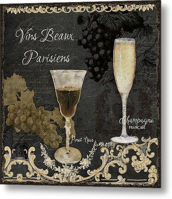 Fine French Wines - Vins Beaux Parisiens Metal Print by Audrey Jeanne Roberts