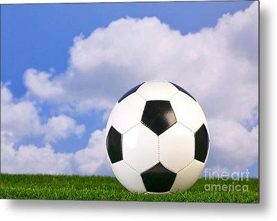 Football On Grass Metal Print by Richard Thomas