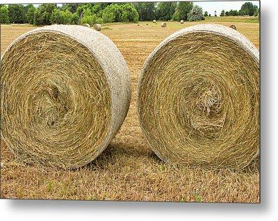 2 Freshly Baled Round Hay Bales Metal Print by James BO  Insogna