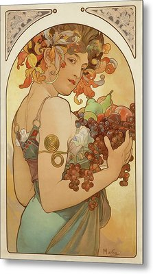 Fruit Metal Print by Alphonse Mucha