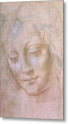 Head Of A Woman  Metal Print by Leonardo da Vinci