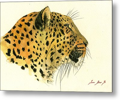 Jaguar Head Painting Watercolor Metal Print by Juan  Bosco