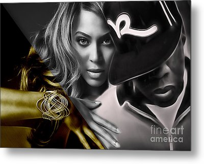 Jay Z Beyonce Collection Metal Print by Marvin Blaine
